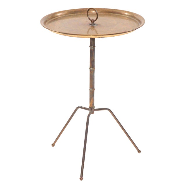1950s Vintage Patinated Brass Italian Side Table For Sale