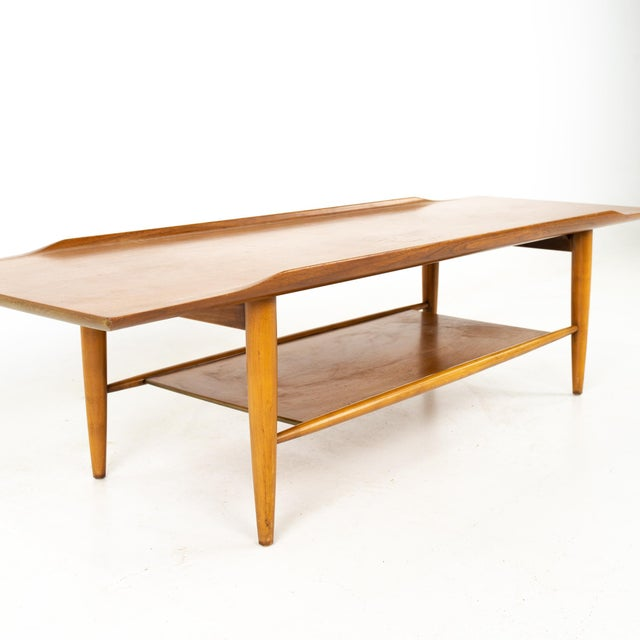Grete Jalk Style Mersman Mid Century Surfboard Mahogany Coffee Table For Sale In Chicago - Image 6 of 11