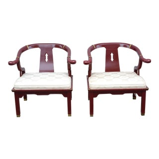 1950s Vintage Hickory Red Lacquer Ming Chairs - a Pair For Sale