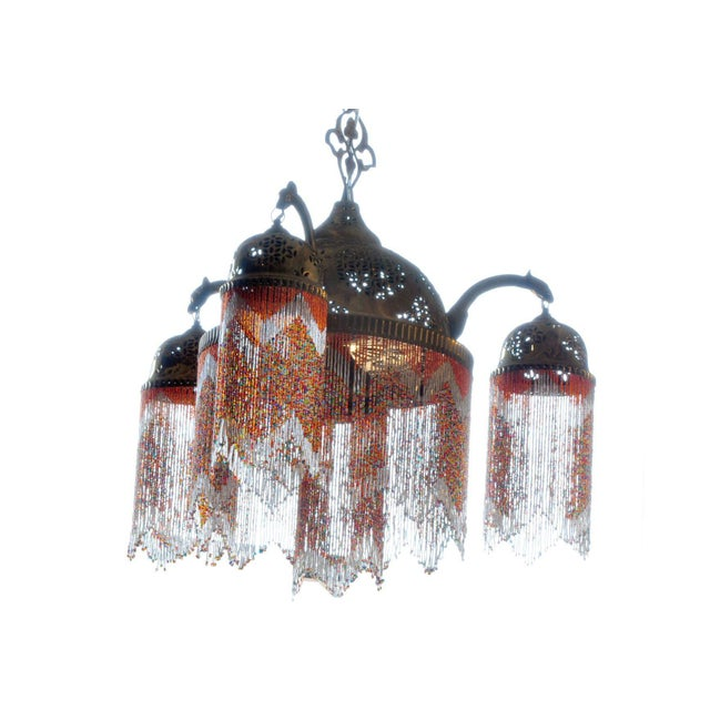Mid 19th Century Vintage Moroccan Brass & Beaded Pendant Lamp For Sale - Image 5 of 10