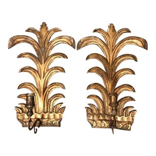 Carved Wood 19th Century Italian Candle Sconces - A Pair