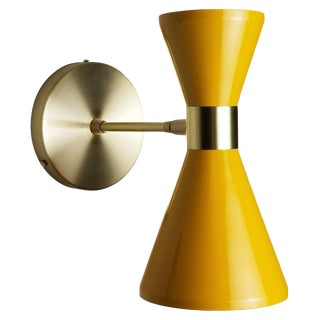 Modern Campana Wall Sconce in Brass + Yellow Enamel by Blueprint Lighting For Sale