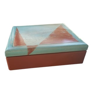 Abstract Jewelry/Keepsake Box in Aqua and Burnt Orange For Sale