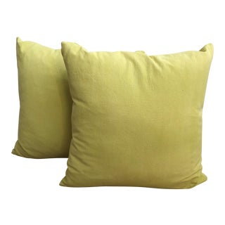 Yellow Denim Custom Throw Pillows - A Pair For Sale
