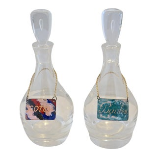 Vintage Steuben Crystal Teardrop Decanters With Enameled Labels-A Pair For Sale