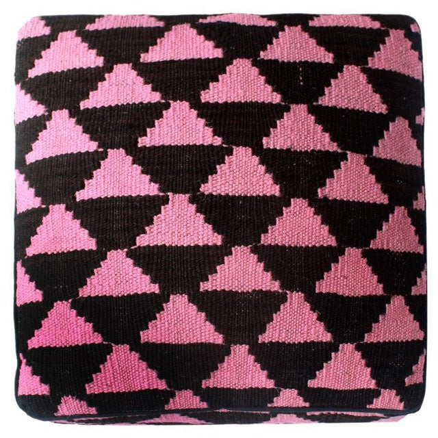 Arshs Diedra Black/Pink Kilim Upholstered Handmade Ottoman For Sale In New York - Image 6 of 8