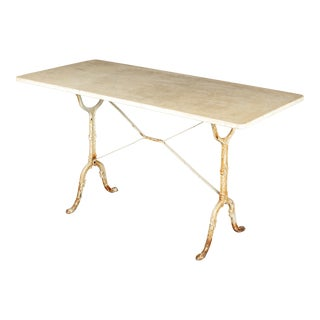 French Cast Iron Marble-Top Bistro Table For Sale