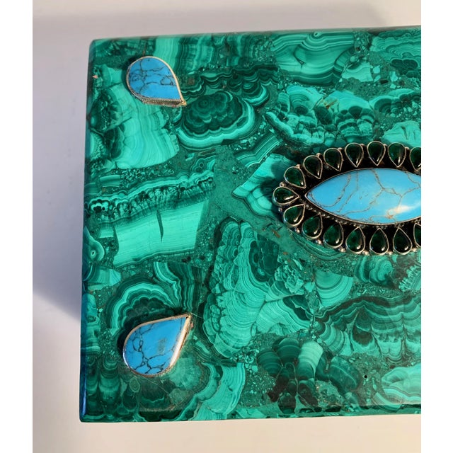 Teal Malachite Box With Semi Precious Stones Set in Sterling For Sale - Image 8 of 12