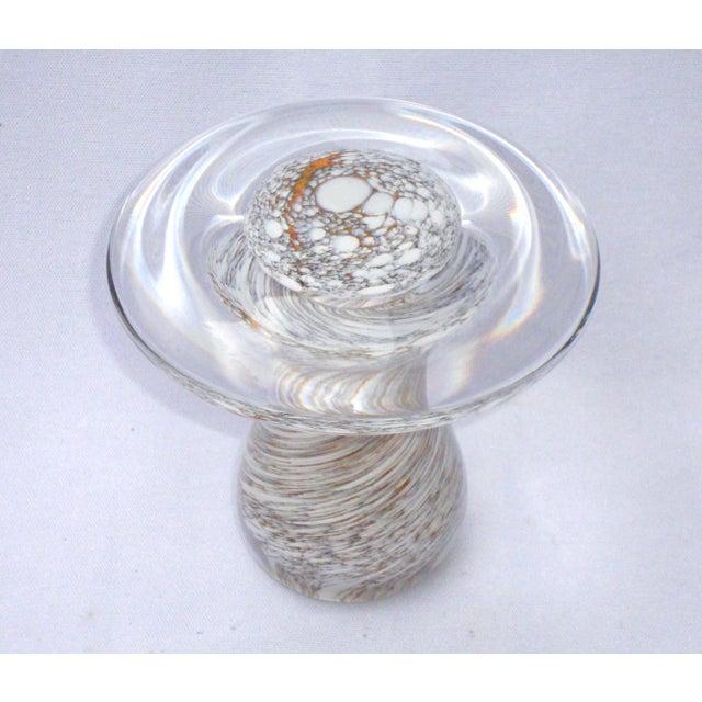Murano Art Glass Brown White Swirl Mushroom - Image 5 of 11