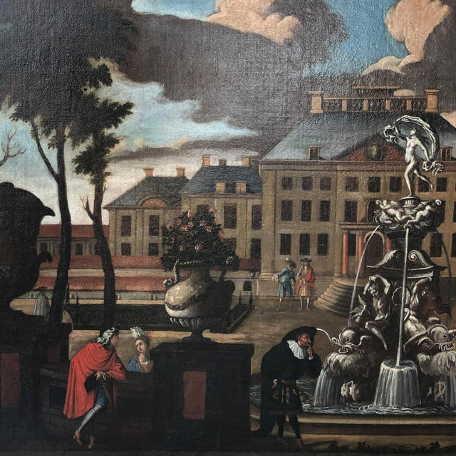 """Brown 17th Century Dutch School """"Palace Courtyard"""" Painting For Sale - Image 8 of 11"""