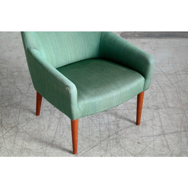 Danish 1950's Green Easy Chair With Footstool by Jacob Kjaer For Sale - Image 10 of 12