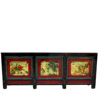 1940s Asian Antique Large Hand Painted Sideboard