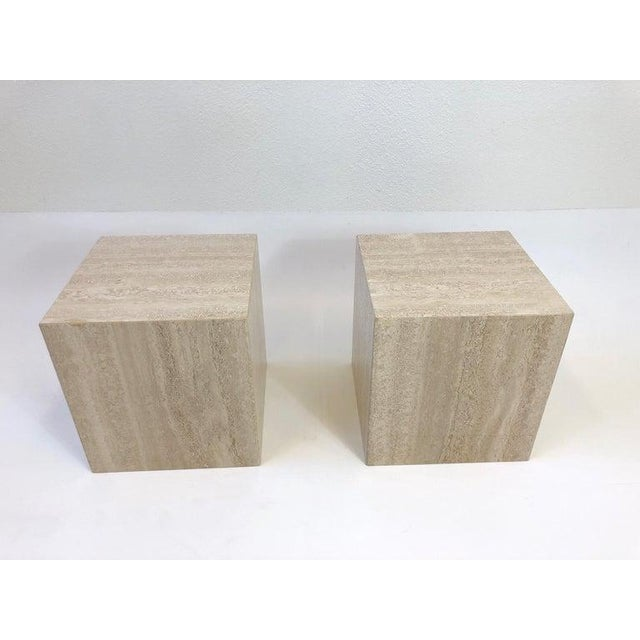 1970s Italian Travertine Side Tables - a Pair For Sale - Image 5 of 10