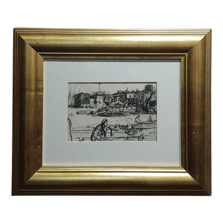 1950s Vintage Black Lion Wharf Etching on Paper by James Whistler For Sale
