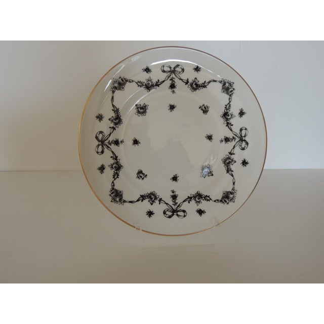 Royal Victoria English White and Black Bone China Dessert Plate Emblazoned with flowers and bows, gold accents. Size:...