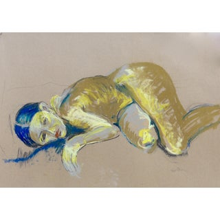 Contemporary Figurative Nude Art Charcoal and Pastel Drawing by Martha Holden For Sale