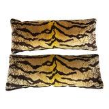 Image of Custom Made Tiger Velvet Box Lumbar Pillows, A-Pair For Sale