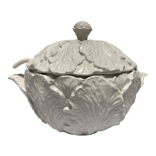 Large White Cabbage Tureen W/ Ladle For Sale