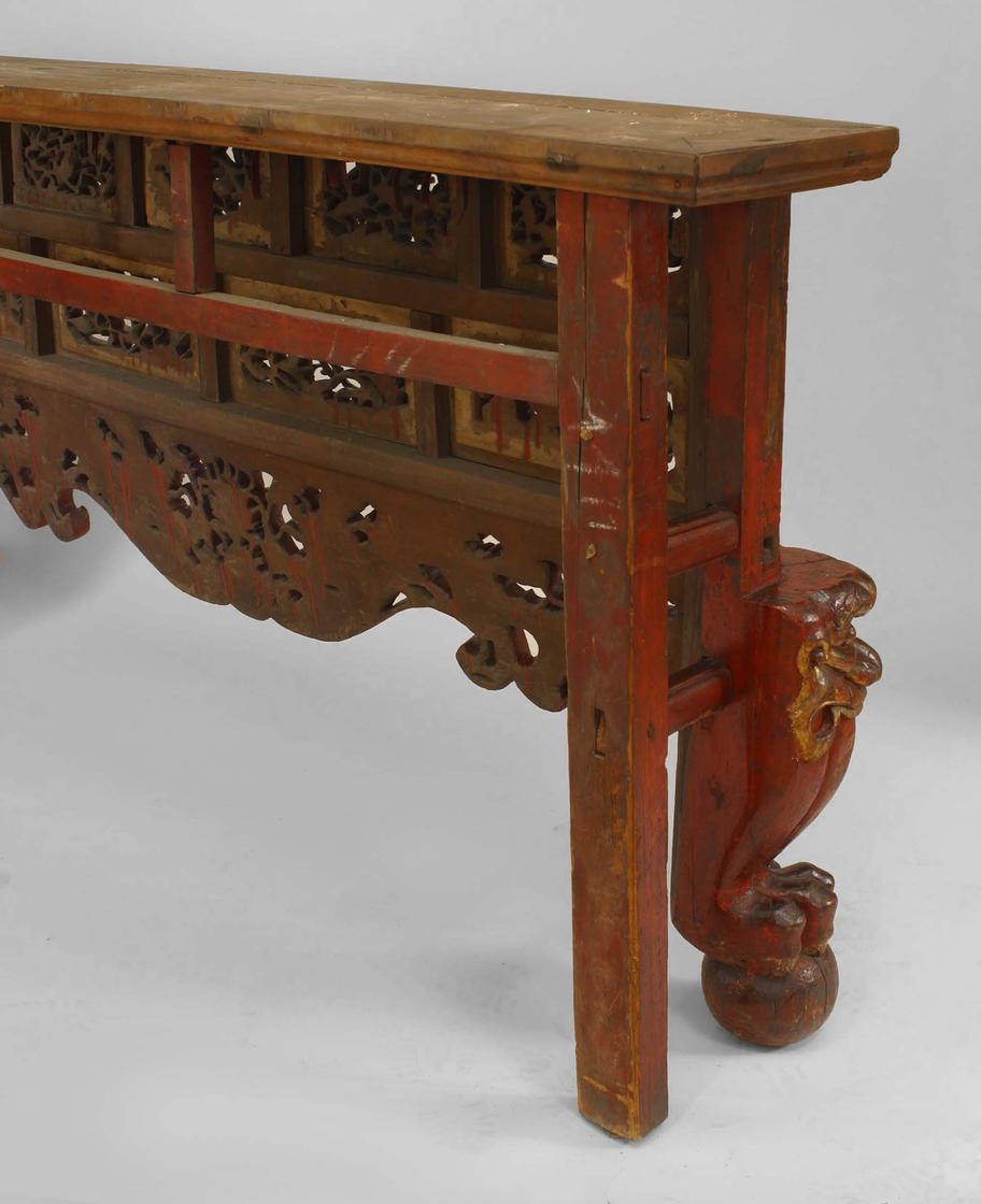 Asian Chinese Style Large Red And Gold Lacquered Narrow Console Table For  Sale   Image 4