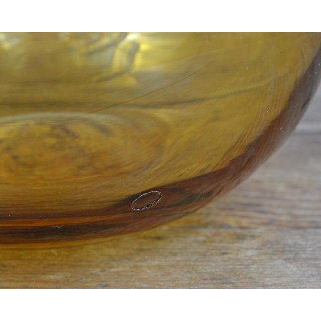 Art Glass Vintage Blenko Amber Blue Spiral Vase For Sale - Image 7 of 7