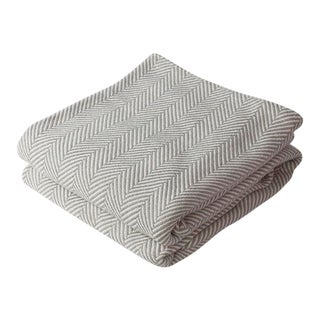 Contemporary Grey Natural Twin Herringbone Blanket For Sale