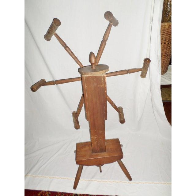 Antique Primitive Wooden Yarn Winder Spinning Wheel For Sale - Image 4 of 11