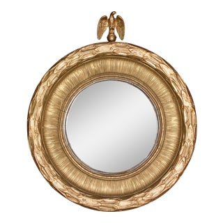 Antique 19th Century American Federal Gold Gilt Eagle Bullseye Convex Mirror For Sale