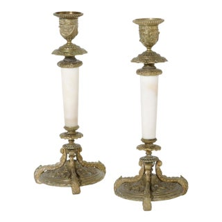 Pair of Antique Charles X Gilt Bronze & White Marble Candlesticks For Sale