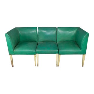 American 1940s Three-Piece Vinyl Banquette For Sale
