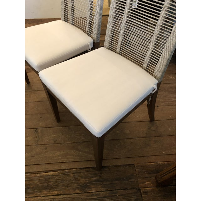 Organic Modern Pair of Raffia Rope & Teak Side Chairs -A Pair For Sale - Image 9 of 13