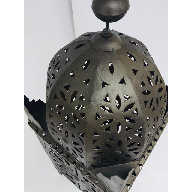 Moroccan Artist Large Moroccan Hurricane Metal Candle Lantern For Sale - Image 4 of 13
