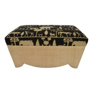 Donghia Raphia-Wrapped Chest, Ottoman And/Or Coffee Table Ottoman With Clarence House Epingle's Textile For Sale