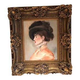 """""""Woman in Black Hat"""" Oil Portrait"""