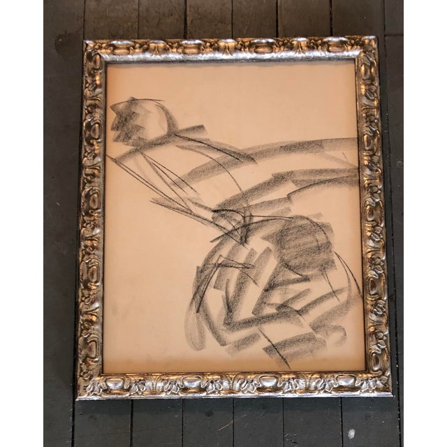 Abstract Vintage Original Abstract Figure Charcoal Study Drawing 1960's Ornate Frame For Sale - Image 3 of 3