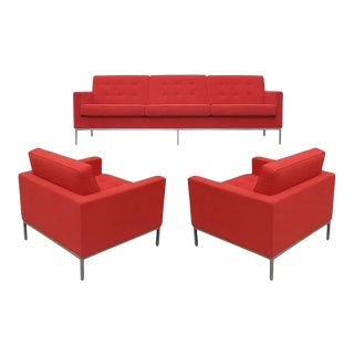 1990s Florence Knoll for Knoll Sofa and Matching Lounge Chairs Living Room Set - 3 Pieces For Sale