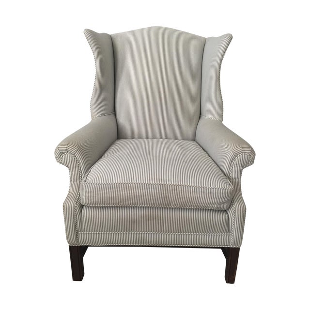 Custom Striped Wing Chair - Image 1 of 9