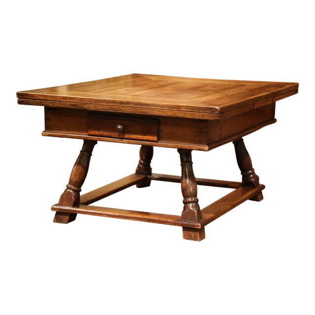 18th Century French Walnut Coffee Table with Drawers and Pull Out Leaves For Sale