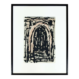 Mid Century Modern Framed Abstract Acrylic Painting Signed E. Arnold Clark 1960s For Sale