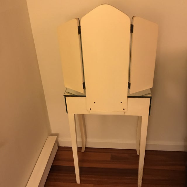White Furniture 1940s Antique Mirrored Vanity For Sale - Image 4 of 11