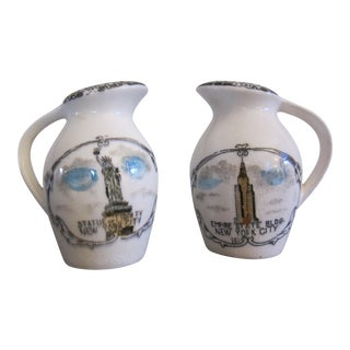 Iconic New York Landmarks Salt & Pepper Shakers - a Pair. Coney Island, Rockefeller Center, Statue of Liberty, Empire State Building Architecture For Sale