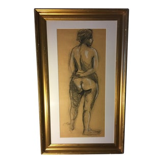 Vintage Nude Woman Charcoal Drawing For Sale