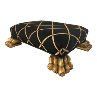 Vintage Neoclassical Style Foot Stool With Gilt Feet For Sale