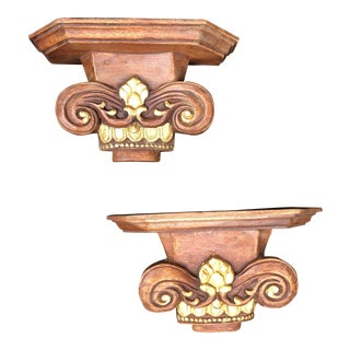 1970s Americana Hand Carved Wooden Gilded Shelf Sconces - a Pair