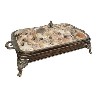1970s Seashell & Silver Plated Serving Casserole Dish For Sale