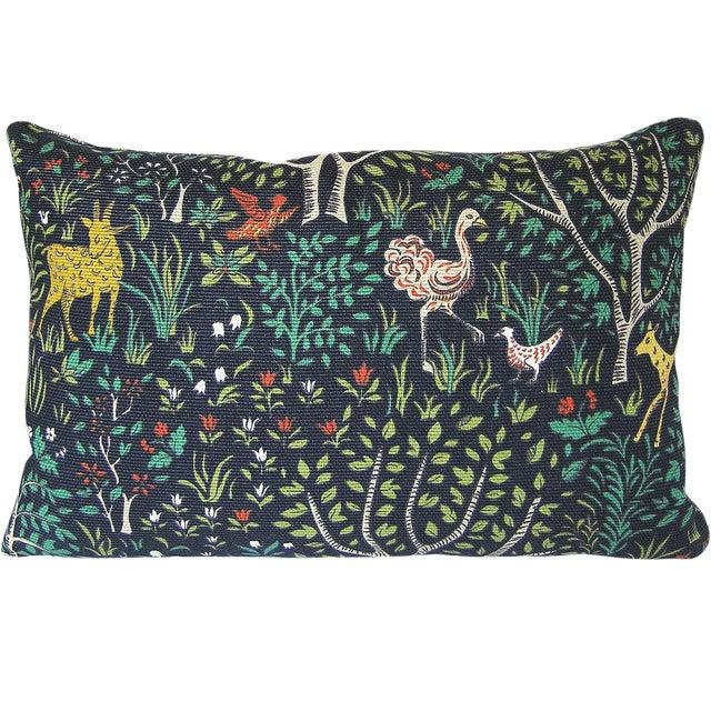 Primitive Robert Allen Folkland Fabric Custom Pillow Cover For Sale - Image 3 of 4