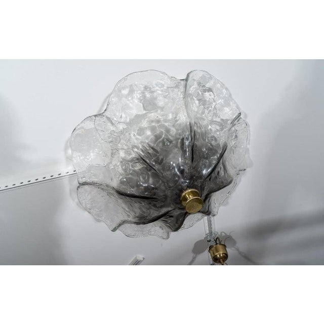 Glass Flush Mount Chandelier Mid-Century Modern by Kaiser For Sale - Image 7 of 11