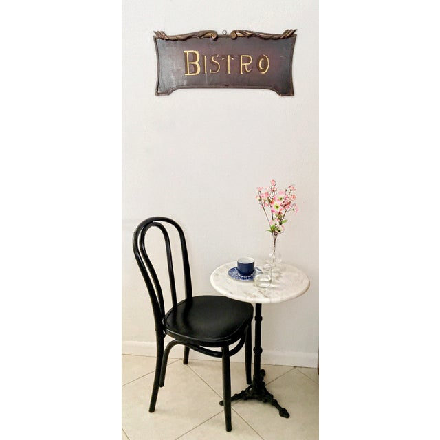 French Style Wood Bistro Sign Wall Hanging Metal Frame Ebony - Image 2 of 9