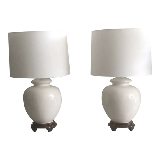 Mid-Century White Ceramic Lamps - a Pair For Sale