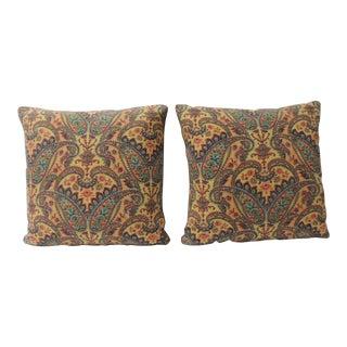 Pair of Vintage Colorful Paisleys Linen Textile Decorative Pillows For Sale