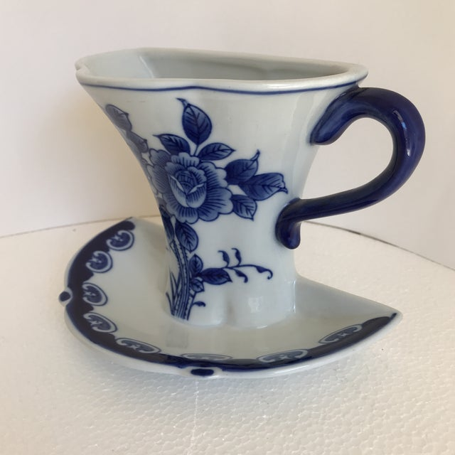 Asian Blue White Ceramic Wall Vase Chairish